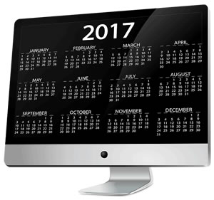 electronic calendar on monitor